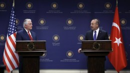 File Photo: US Secretary of State Rex Tillerson (L) and Turkish Foreign Minister Mevlut Cavusoglu (R) attend their press conference in Ankara, Turkey. EPA, TUMAY BERKIN