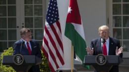 FILE PHOTO. US President Donald J. Trump (R) and King Abdullah II of Jordan (L) participate in a joint press conference in the Rose Garden of the White House in Washington, DC, USA. EPA, SHAWN THEW