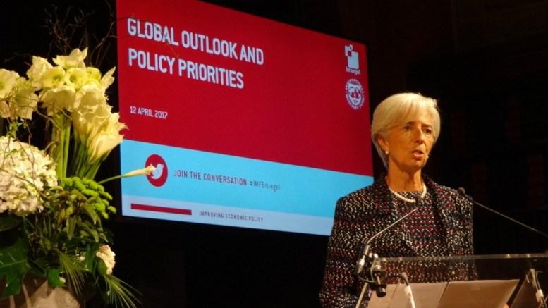 Η κ. Κριστίν Λαγκάρντ στη σημερινή της ομιλία. Φωτογραφία via IMF