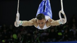Eleftherios Petrounias of Greece performs on the Rings during the qualification round at the 2017 Artistic Gymnastics European Championships in Cluj-Napoca, Romania, 19 April 2017. EPA, ROBERT GHEMENT