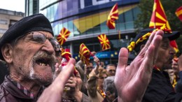 """File Photo: Thousands of supporters of the Civil Initiative for United """"Macedonia"""" gather for a protest in front of the EU Info Centar, after President of the European Council Donald Tusk met with Fyromian President George Ivanov in Skopje. EPA, GEORGI LICOVSKI"""