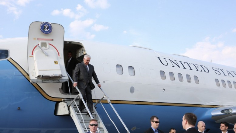 US Secretary of State Rex Tillerson (top) disembarking his plane as he arrives at the Vnukovo airport, in Moscow, Russia. File Photo: EPA, US DEPARTMENT OF STATE HANDOUT, EDITORIAL USE ONLY