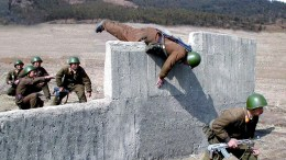 North Korean soldiers train on an obstacle course. FILE PHOTO. EPA/KCNA