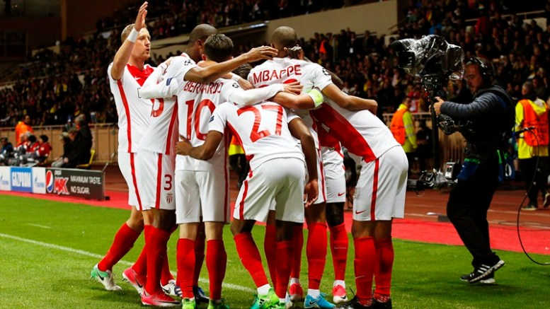 Monaco's Kylian Mbappe (C-R) celebrates with his teammates after scoring the 1-0 lead during the UEFA Champions League quarter final, second leg soccer match between AS Monaco and Borussia Dortmund at Stade Louis II in Monaco, 19 April 2017.  EPA/SEBASTIEN NOGIER