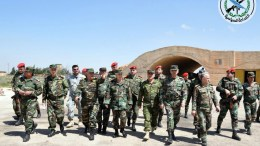 A handout photo made available by Syrian Arab news agency SANA shows Syrian Chief of the General Staff of the Army and Armed Forces Gen. Ali Abdullah Ayoub inspecting the damage at al-Shairat Air Base in the southeastern countryside of Homs province,Syria 07 April 2017. The United States military launched 59 cruise missiles at a Syrian military airfield in retaliation for a chemical attack which killed scores of civilians. EPA/SANA HANDOUT HANDOUT HANDOUT EDITORIAL USE ONLY/NO SALES