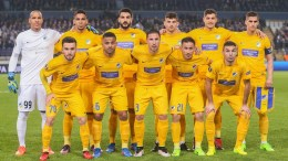 APOEL Nicosia starting eleven during the UEFA Europa League soccer match between RSC Anderlecht and APOEL Nicosia at Constant Vanden Stock stadium, in Anderlecht, Belgium, 16 March 2017.  EPA/STEPHANIE LECOCQ