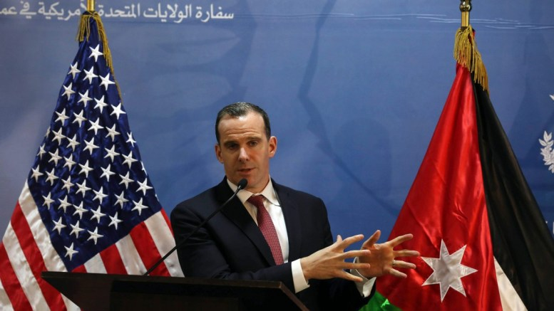 File Photo: US Special Envoy for the Coalition to Counter IS (Islamic State), Brett McGurk Speaks during a press conference at the USA embassy in Amman. EPA, JAMAL NASRALLAH