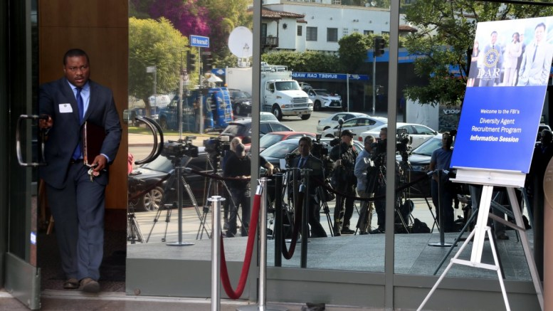 Members of the media gather outside the Directors Guild of America where recently dismissed FBI (Federal Bureau of Investigation) director James Comey was supposed to address prospective FBI recruits in West Hollywood, California, USA. FBI Director James B. Comey has been dismissed by the US President Donald J. Trump over his handling of an inquiry on Democrat Hillary Clinton's emails, according to the White House on 09 May 2017. EPA, MIKE NELSON