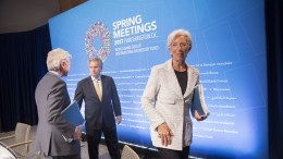File Photo: International Monetary Fund Managing Director Christine Lagarde (R), First Deputy Managing Director David Lipton (C) and Communications Director Gerry Rice (L) at the IMF Headquarters in Washington, DC USA, 20 April 2017. EPA, Stephen Jaffe HANDOUT