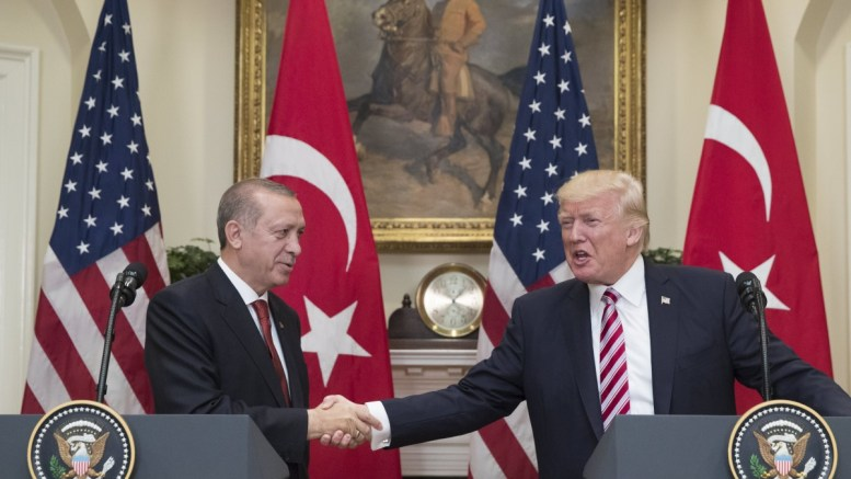 File Photo: US President Donald J. Trump (R) shakes hands with Turkish President Recep Tayyip Erdogan (L) in the Roosevelt Room at the White House. FILE PHOTO. EPA, MICHAEL REYNOLDS / POOL