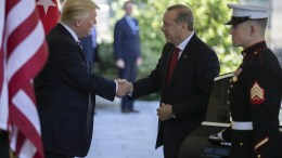 File Photo: US President Donald J. Trump (L) greets Turkish President Recep Tayyip Erdogan (C) at the West Wing of the White House. FILE PHOTO. EPA, SHAWN THEW