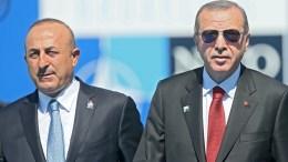FILE PHOTO: Turkish President Recip Tayyip Erdogan and Foreign Minister, Mevlut Cavusoglu. EPA, STEPHANIE LECOCQ