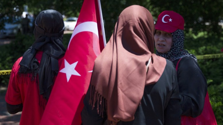 File photo. Supporters of President of Turkey Recep Tayyip Erdogan rally in Lafayette Park during meetings between Erdogan and US President Donald J. Trump, at the White House in Washington, DC, USA. EPA, SHAWN THEW