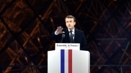 French presidential election candidate for the 'En Marche!' (Onwards!) political movement, Emmanuel Macron delivers a speech after winning the second round of the French presidential elections at the Carrousel du Louvre in Paris, France, 07 May 2017. Emmanuel Macron defeated Marine Le  Pen in the final round of France's presidential election, with exit polls indicating that Macron is leading with approximately 65.5 per cent of the vote.  EPA/JULIEN DE ROSA