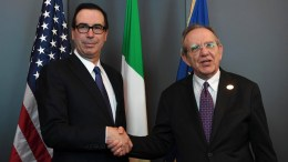 US Treasury Secretary Steven Mnuchin (L) shakes hands with the Minister of Economy and Finances of Italy, Pier Carlo Padoan (R), during the G7 Ministerial Meeting on Finance in Bari, Italy, 11 May 2017. The G7 Finance Ministers and Central Bank Governors meeting, that will also be attended by the European Commissioner for Economic and Monetary Affairs, the President of the Eurogroup and the President of the European Central Bank as well as the Heads of the major International Organizations, takes place in Bari from 11 to 13 May 2017. EPA, CIRO FUSCO