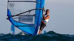 Byron Kokkalanis from Greece sails during an RS:X Mens class race in the Rio 2016 Olympic Games Sailing events at the Marina da Gloria in Rio de Janeiro, Brazil, 12 August 2016.  EPA/NIC BOTHMA