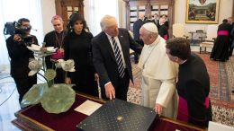 A handout picture provided by the Vatican newspaper L'Osservatore Romano shows Pope Francis (2-R) meeting with US President Donald J. Trump (3-R) and US First Lady Melania Trump (3-L) during a private audience, at the Vatican, 24 May 2017. Trump is at the Vaican and in Italy on a two day visit, ahead of his participation in a NATO summit in Brussels on 25 May.  EPA/OSSERVATORE ROMANO/HANDOUT  HANDOUT EDITORIAL USE ONLY/NO SALES