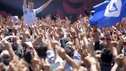 File Photo: Lulzim Basha, leader of Albanian opposition Democratic Party addresses protesters during an anti-government rally in front of the government building in Tirana, Albania. EPA, MALTON DIBRA