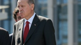 File Photo: Turkish President Recep Tayyip Erdogan reacts during the unveiling of a monument at the new NATO Headquarters during the NATO summit in Brussels, Belgium. EPA, STEPHANIE LECOCQ