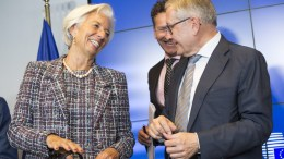 File Photo: From left to right: Ms Christine LAGARDE, Managing Director of the IMF; Mr Jeroen DIJSSELBLOEM, President of the Eurogroup; Mr Klaus REGLING, European Stability Mechanism Managing Director. Luxembourg, Copyright: European Union