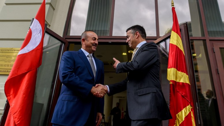 File Photo: Minister of Foreign Affairs of the Republic of Turkey, Mevlut Cavusoglu (L) shake hands with his Macedonian counterpart Nikola Dimitrov outside the Ministry of Foreign Affairs, in Skopje, The FYROM. EPA, TOMISLAV GEORGIEV POOL