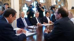 Ο Πρόεδρος της Δημοκρατίας κ. Νίκος Αναστασιάδης με τον Ειδικό Σύμβουλο του Γ.Γ. του ΟΗΕ για την Κύπρο κ. Espen Barth Eide, Λευκωσία 24 Ιουλίου 2017. Φωτογραφία ΣΤ. ΙΩΑΝΝΙΔΗΣ