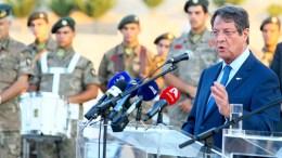 Ο Πρόεδρος της Δημοκρατίας Νίκος Αναστασιάδης στην αντικατοχική εκδήλωση της επαρχίας Κερύνειας. Λευκωσία 24 Ιουλίου 2017. Φωτογραφία ΣΤ. ΙΩΑΝΝΙΔΗΣ