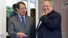 Ο Πρόεδρος της Δημοκρατίας κ. Νίκος Αναστασιάδης μαζί με τον Έλληνα Υπουργό Εξωτερικών Νίκο Κοτζιάς στη Διάσκεψη για το Κυπριακό, στο Crans Montana της Ελβετίας. ΚΥΠΕ, ΚΑΤΙΑ ΧΡΙΣΤΟΔΟΥΛΟΥ