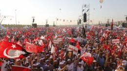 Supporters of Kemal Kilicdaroglu, leader of Turkey's main opposition Republican People's Party (CHP), shout slogans during a mass rally after the last stage of a protest march from Ankara to Istanbul, in Istanbul, Turkey. EPA, TOLGA BOZOGLU