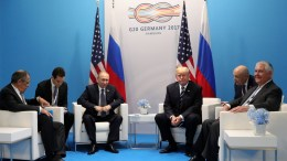 File Photo: Russian President Vladimir Putin (C-L), Russian Foreign Minister Sergei Lavrov (L), US President Donald J. Trump (C-R) and US Secretary of State Rex Tillerson (R) meet for a bilateral on the sidelines of the G20 summit in Hamburg, Germany, 07 July 2017. EPA, MICHAEL KLIMENTYEV / SPUTNIK / KREMLIN POOL