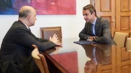Ο πρόεδρος της Νέας Δημοκρατίας Κυριάκος Μητσοτάκης (Δ), συναντήθηκε, με τον Επίτροπο Οικονομικών Υποθέσεων της Ευρωπαϊκής Ένωσης Pierre Moscovici (Α), στη Βουλή, Τρίτη 25 Ιουλίου 2017. ΑΠΕ-ΜΠΕ, ΓΡΑΦΕΙΟ ΤΥΠΟΥ ΝΔ, ΔΗΜΗΤΡΗΣ ΠΑΠΑΜΗΤΣΟΣ