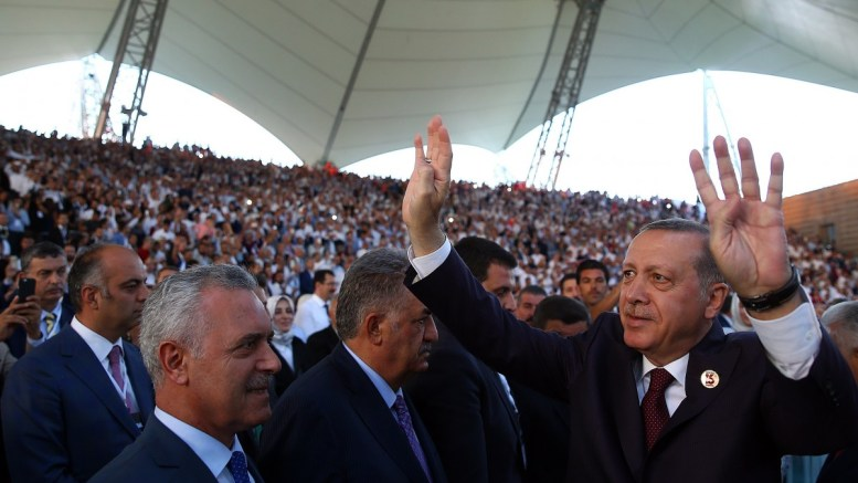 Turkish President Recep Tayyip Erdogan (R) greets to people during a ceremony held to mark the 16th anniversary of the foundation of the Justice and Development Party (AK Party) in Ankara, Turkey. EPA, TURKISH PRESIDENT PRESS OFFICE HANDOUT, EDITORIAL USE ONLY