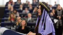 FILE PHOTO. Iraqi Yazidi Islamic State survivor Nadia Murad delivers her speech during the plenary session at the European Parliament in Strasbourg. EPA/PATRICK SEEGER