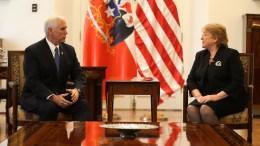 Chilean President Michelle Bachelet (L) speaks with US Vice President Mike Pence (R) at the Palacio de la Moneda, in Santiago, Chile, 16 August 2017. EPA, Esteban Felix / POOL