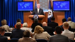 File Photo: US Secretary of State Rex Tillerson addressing reporters at the Department Press Briefing, at the US Department of State in Washington, DC, USA. EPA, US DEPARTMENT OF STATE HANDOUT, EDITORIAL USE ONLY