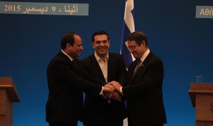 File Photo: Ο Πρόεδρος της Αιγύπτου, Φατάχ Αλ Σίσι, ο πρωθυπουργός της Ελλάδας, Αλέξης Τσίπρας και ο Πρόεδρος της Κυπριακής Δημοκρατίας, Νίκος Αναστασιάδης. Φωτογραφία: ΚΥΠΕ.