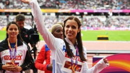 File Photo: Gold medalist Ekaterini Stefanidi of Greece waves after the medal ceremony for the women's Pole Vault at the London 2017 IAAF World Championships in London, Britain. EPA, FACUNDO ARRIZABALAGA