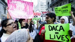 File Photo: People gather for a rally and protest to mark the fifth anniversary of the Deferred Action for Childhood Arrivals (DACA) program near Trump Tower in New York, New York, USA. EPA, JUSTIN LANE