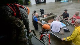 A handout photo made available by the Texas Military Department shows Texas National Guardsmen from the 386th Engineer Battalion work alongside first responders from Texas Task Force One and the Cypress Creek Fire Department to rescue local citizens from severe flooding in Cypress Creek, Texas. EPA/Capt. Martha Nigrelle HANDOUT HANDOUT EDITORIAL USE ONLY/NO SALES