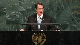 Nicos Anastasiades, President of the Republic of Cyprus speaks during the General Debate of the 72nd United Nations General Assembly at UN headquarters in New York, New York, USA, 21 September 2017. The annual gathering of world leaders formally opened on 19 September 2017, with the theme 'Focusing on People: Striving for Peace and a Decent Life for All on a Sustainable Planet.'  EPA/ANDREW GOMBERT