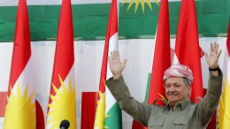 Iraq's Kurdistan region's President Massoud Barzani take part in a rally for the Kurdistan independence referendum campaign at the Franso Hariri stadium in Erbil, Iraq, 22 September 2017. The Kurdistan region is an autonomous region in northern Iraq since 1991, with an estimated population of 5.3 million people. The region share borders with Turkey, Iran, and Syria, all of which have large Kurdish minorities. On 25 September the Kurdistan region holds a referendum for independence and the creation of the state of Kurdistan amidst divided international support. EPA, MOHAMED MESSARA