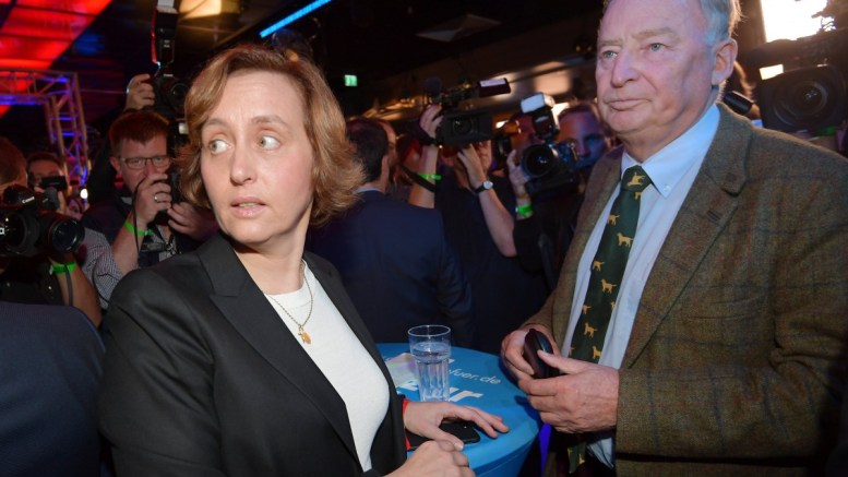 Beatrix von Storch (L) of Alternative for Germany (AfD) party and Alexander Gauland (R), co-top candidate for the general elections of the German right-wing populist party 'Alternative for Germany' (AfD), attend at a night club where right-wing populist party AfD holds their election event in Berlin, Germany, 24 September 2017. According to federal election commissioner more than 61 million people are eligible to vote in the elections for a new federal parliament, the Bundestag, in Germany. EPA, THORSTEN WAGNER