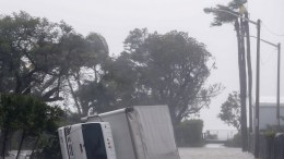 A toppled box truck after the full effects of Hurricane Irma struck in Miami, Florida, USA, 10 September 2017. Many areas are under mandatory evacuation orders as Irma Florida. EPA, ERIK S. LESSER