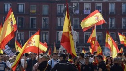 People wave Spanish national flags during a protest in support of Spain's unity at the main square of Valladolid, Spain, on 30 September 2017. Catalonia is to hold an independence referendum on 01 October in spite of it has been banned by the Spanish Constitutional Court. EPA, NACHO GALLEGO