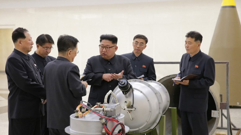File Photo: An undated photo released by the North Korean Central News Agency (KCNA), the state news agency of North Korea, on 03 September 2017 shows Kim Jong-un (3-R), chairman of the Workers' Party of Korea, chairman of the State Affairs Commission of the Democratic People's Republic of Korea (DPRK) and supreme commander of the Korean People's Army (KPA), purportedly guiding the work for nuclear weaponization on spot, at an undisclosed location, North Korea. EPA, KCNA EDITORIAL USE ONLY
