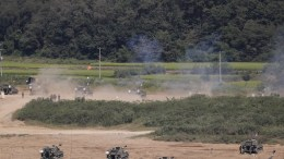 South Korean soldiers with K-55 Self-Propelled Artillery participate in a regular exercise held to prepare for a possible attack from North Korea near the Demilitarized Zone (DMZ) in Paju, Gyeonggi-do, South Korea, 15 September 2017. Earlier in the day North Korea fired what appeared to be an intermediate-range missile over Japan that flew approximately 3,700km and fell into the North Pacific Ocean. EPA, JEON HEON-KYUN