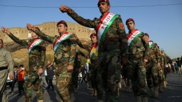 Kurdish Peshmerga Fighters in traditional clothes take part in a march to support independence referendum in Erbil city the Capital of the Kurdistan Region in northern Iraq, 13 September 2017. The Kurdistan Region has scheduled an independence referendum for 25 September 2017 to allow people in the region to determine their future, either remain as part of Iraq or declare independence. EPA, GAILAN HAJI