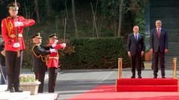 File Photo: Kosovo Prime Minister Ramush Haradinaj (2-R) and Albanian Prime Minister Edi Rama (R) attend the welcoming ceremony for Haradinaj in Tirana. EPA, MALTON DIBRA