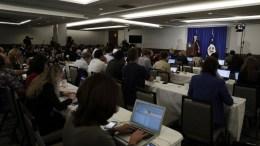 United States Secretary of State Rex Tillerson (R, back) addresses the media at the New York Hilton Hotel in New York, New York, USA, 20 September 2017. EPA, JASON SZENES