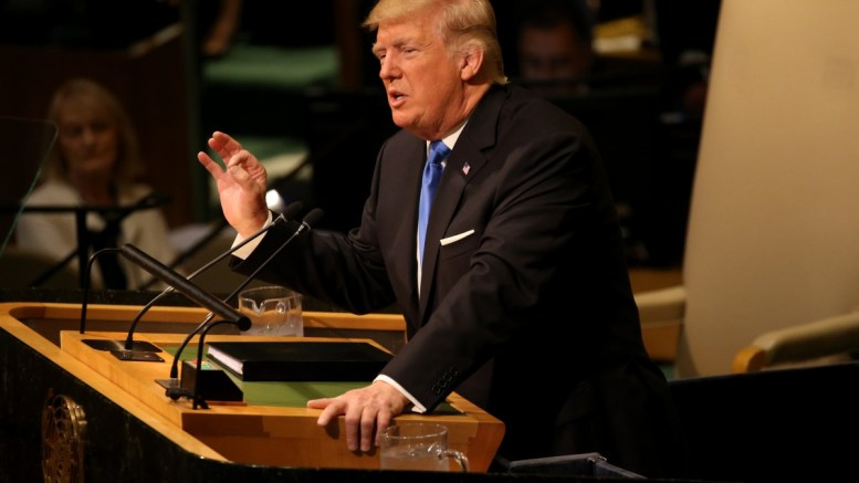 File Photo: United States President Donald J. Trump addressing the assembly during the opening session of the General Debate of the 72nd United Nations General Assembly at UN headquarters in New York, New York, USA, 19 September 2017. EPA, JUSTIN LANE